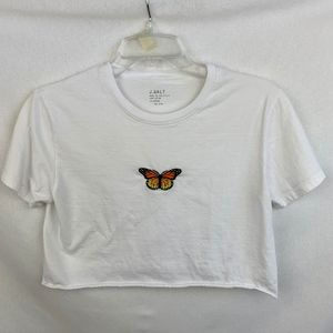 Brandy Melville Cropped Butterfly Tee - OS